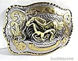 Horse Head Cow Boy Western 3d Gold and Silver Finishing Belt Buckle