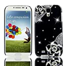 I9500 LTE i9505 IV Etui de protection Coque de protection couverture 3D de la main de Super City Super Luxe samsung galaxy Samsung Galaxy S4 Coque paillettes strass paillettes strass Housse Case S4 S4 Samsung Galaxy Cas dur de Bling cristal de diamant Hardcase dur Coque téléphone portable Black Flower