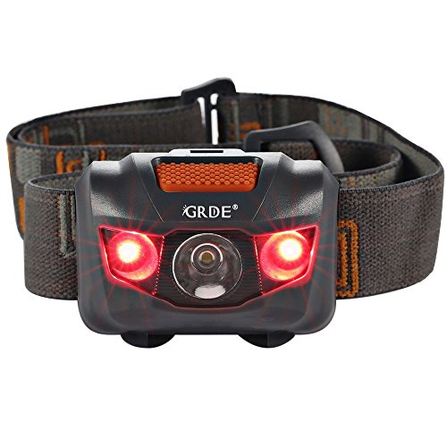 Headlamp LED Headlight 4 Mode Outdoor Flashlight Torch with Dimmable White Light Steady Red Light Adjustable and Water Resistant for Camping Hiking Walking Reading and More (3AAA Batteries Included) (Head Mounted Led Flashlight compare prices)