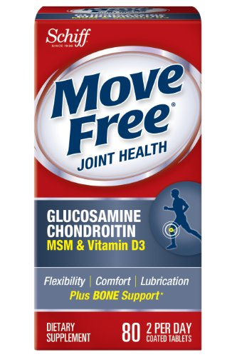 Déplacez Supplément gratuit glucosamine chondroïtine MSM vitamine D3 et mixte de l'acide hyaluronique, 80 comte
