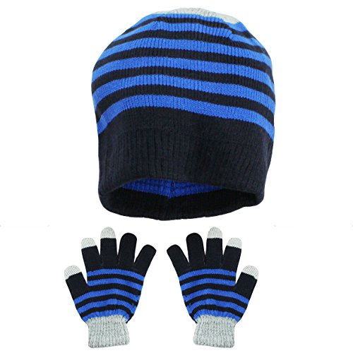 Nolan Boys Winter Hat Reversible Striped Beanie Cap and Gloves Royal Blue 4-14 (Guantes De Football compare prices)