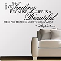 Marilyn Monroe Keep Smiling - WALL STICKER DECAL QUOTE ART MURAL Large Nice by Value Decals