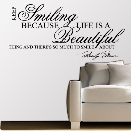 Marilyn monroe keep smiling wall sticker decal quote art for Nice white wall decal quotes