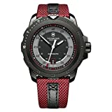 Victorinox Swiss Army Alpnach Mechanical Automatic Grey and Silver Dial Red Nylon Mens Watch 241686 (Color: Black)