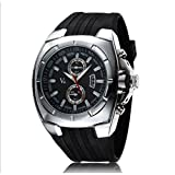 V6 腕時計 クォーツ時計 メンズ レディース 腕時計 ファッション スポーツ クロノ グラフ アナログ (シルバー) 32