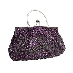 BMC Purple Beaded Sequin Design Metal Frame Kissing Lock Clasp Satin Interior Evening Clutch - Exuding Eloquence Collection