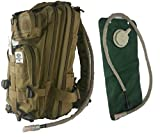 Tactical Assault Military Army Style Backpack By Monkey Paks with Hydration Water Bladder Included * Acu Camo * Black * Tan * Water Resistant Rucksack * Molle Compatatible * Great for Bug Out Bag or Daypack * 600 D Nylon Multiple Zippered Pockets to Keep All Your Stuff Organized