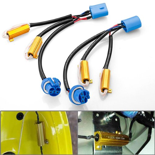 2X Error Free 9004 9007 Plug And Play Heat Resistant Wiring Harness Extension Socket Connector Kit With Load Resistors For Upgrading Head Light Or Fog Lamp