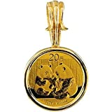 1/20 oz Gold Panda Coin Set in 14KT Yellow Coin Frame in 14k Yellow Gold