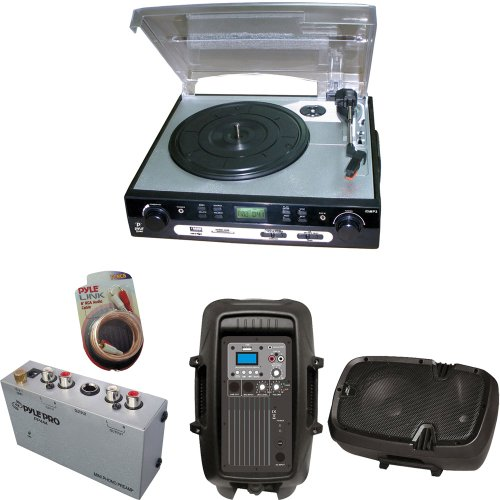 Pyle Turntable Record Player, Pre-Amplifier, Rca Cable And Speaker Package - Plttb9U Usb Turntable With Direct-To-Digital Usb/Sd Card Encoder & Built-In Am/Fm Radio Conversion - Pp444 Ultra Compact Phono Turntable Preamp - Pphp803Mu 8'' 600 Watt Powered T