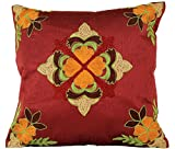 Floral Embroidered Pillow Cover, Set of 2 (Red)