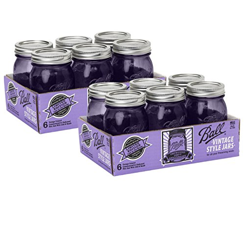 Ball Jar Ball Heritage Collection Pint Jars with Lids and Bands, Purple (Pint-Set of 12, Purple)