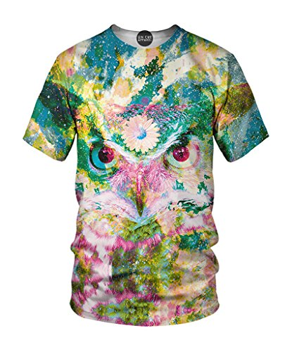 On Cue Apparel Third Owl T-Shirt – All Over Print Graphic Rave Shirts – Medium