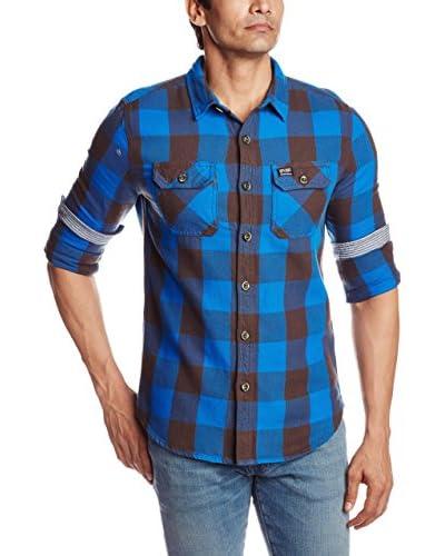 Superdry Camicia Uomo Flanagan Forest Blu 2XL