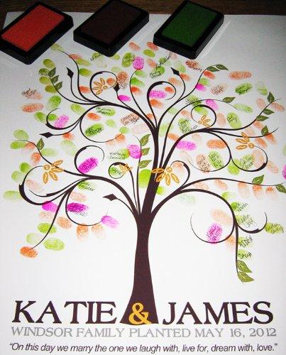 Wedding Tree Fingerprint Tree Thumb Print Guest Book: WEDDING PHOTO BOOK TEMPLATES