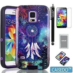 S5 Case, Samsung Galaxy S5 Case - CAISEDO(TM) Dream Catcher Pattern Hybrid High Impact TPU + Hard PC Case Cover for Samsung Galaxy S5/ i9600/ Galaxy SV / Galaxy S V (2014) with Stylus,Screen Protector.[C246B1]Purple