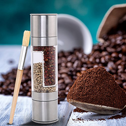 Salt and Pepper Grinder Set,KPACO 2 in 1 Slim Brushed Stainless Steel Pepper Mill and Salt Mill Pepper Grinder Set Spice Grinder,Easy to Fill Salt and Pepper Mill Set With Brush (Salt Brush compare prices)