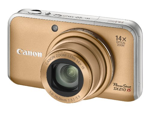 Canon PowerShot SX210 IS Digital Camera - Gold (14.1 MP, 14x Optical Zoom) 3.0 Inch PureColor LCD