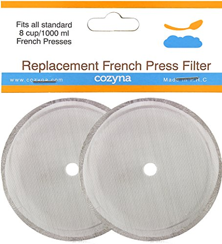 Cozyna Universal Replacement French Press Filter Mesh Screen - Set of 2 - For 8 Cup (1000 ml) French Press - Design Fits All Major Brands Such As Bodum, Frieling and Other (Screen For French Press compare prices)