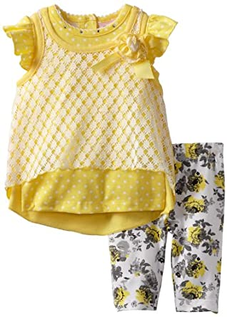 Little Lass Baby-Girls Infant 2 Piece Capri Set with Flower Legging, Yellow, 3-6 Months