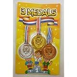 Pack de 3 medallas plástico - oro, plata y bronce - bolsa partido juguetes (HL170)