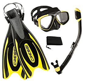 Buy Cressi Frog Plus Fins with Dive Mask Dry Snorke Set, (Scuba Snorkeling Freediving Spearfishing Dive Gear) by Cressi