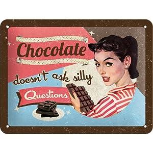 Nostalgic-Art 26109 Say it 50's Chocolate Doesn't Ask, Blechschild, 15 x 20 cm
