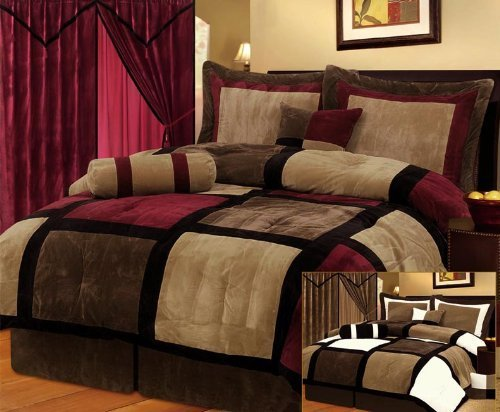 7 Pieces Burgandy Brown Black & Beige Micro Suede Patchwork Comforter Bedding Set Washable Full Size