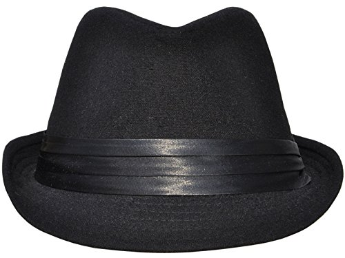 simplicity-unisex-structured-gangster-trilby-wool-fedora-hat-3076-solid-blk