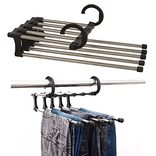 Stainless Steel Multifunction Retractable Trousers Hanger Jeans Holder front-112512