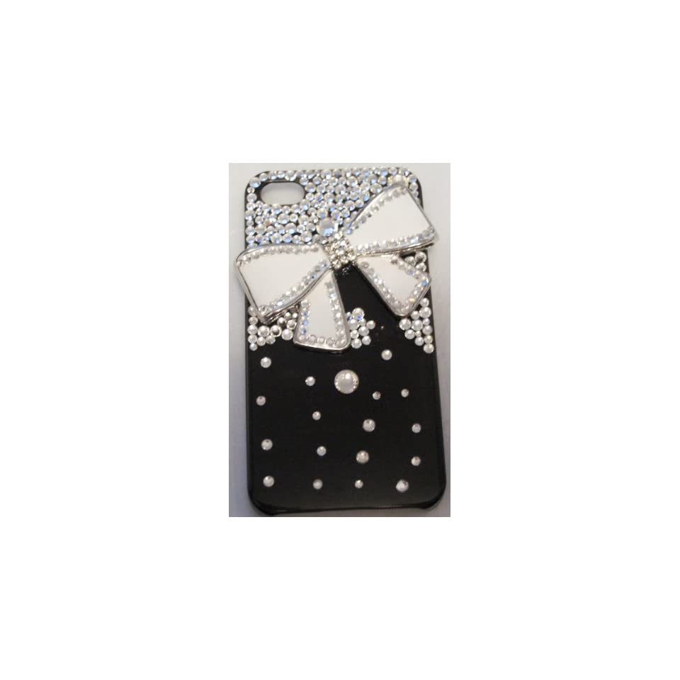 Nice Handmade Crystal 3D White Bow Tie Iphone 4/4s Case + Screen Protector
