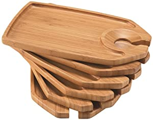 Caffco International Biltmore Inspirations Collection Bamboo Party Trays, Set of 6