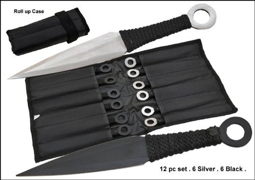 Tk-868-12-Bs. 12 Pc Naruto Anime Throwing Knife Set W/Case- Black/Silver Stainless Steel Sharp Edge Blade Dagger Camping Hunting Hunt Weapon Panthtd