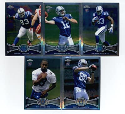 2012 Topps Chrome Football Indianapolis Colts Team Set (9 Cards) -Andrew Luck Rookie, T.Y. Hilton Rookie, Coby Fleener Rookie, Dwayne Allen Rookie, Chandler Harnish Rookie, Vick Ballard Rookie, Dwight Freeney, Robert Mathis, & Reggie Wayne!