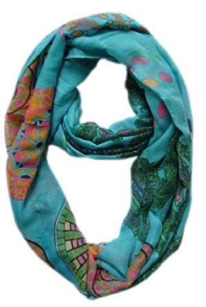 Peach Couture Vivid & Lively Lightweight Paisley Damask Infinity Loop Scarf (Aqua)