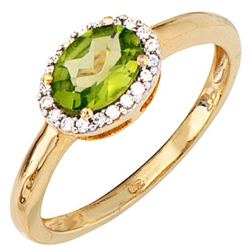 Women's Ring Peridot & Diamond Brilliant 585 Gold 20 Gold Ring Regenbogen