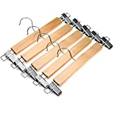 J.S. Hanger®Natural Wood Skirt Hangers, Wooden Pants Hangers with Chrome Hardware, Natural hardwood Hanger, 5-Pack