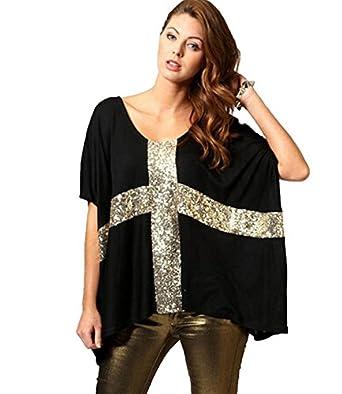 farleen t shirt tunique paillettes ample grande taille blouse manche courte chauve souris. Black Bedroom Furniture Sets. Home Design Ideas