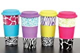 Double Wall Tumbler with Animal Patternm, Set of 4