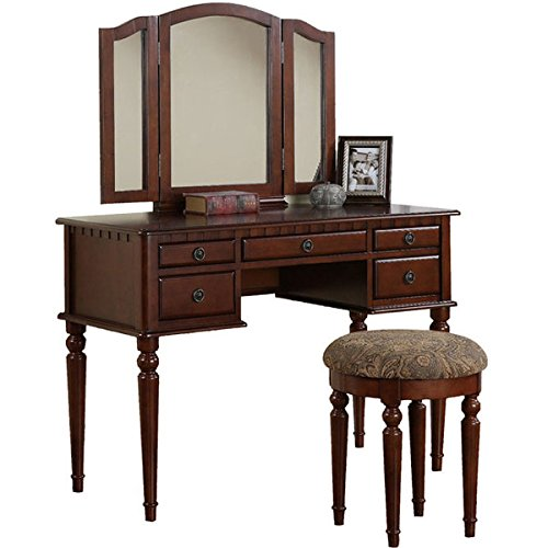 Vanity Set With Mirror And Stool Vintage Antique Makeup
