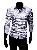 STYLISH BOY ドレス シャツ Yシャツ 襟柄 スーツ サファリ 男性 メンズ オリジナルブレスレット付 SB0093