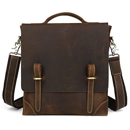 Kattee?Crazy Horse Leather Laptop Messenger Briefcase Crossover Shoulder Bag