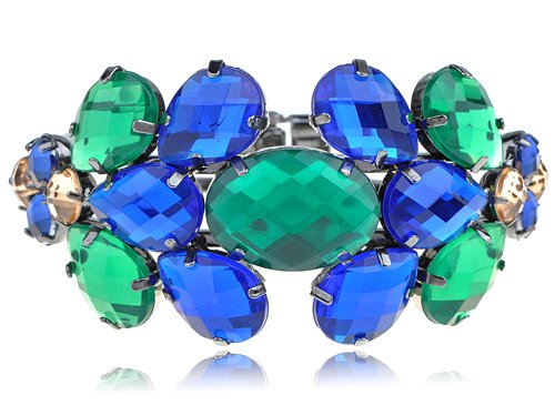 Statement Emerald Green Sapphire Blue Crystal Rhinestone Fashion Bracelet Bangle