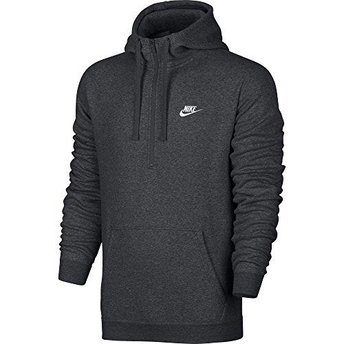 Nike Mens Sportswear Half Zip Club Fleece Hooded Sweatshirt Charcoal Grey/White 812519-071 Size Medium
