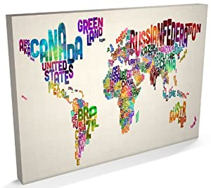 Typographic Text Map of the World, Canvas Art Print, 22x34 inch (A1) - 889