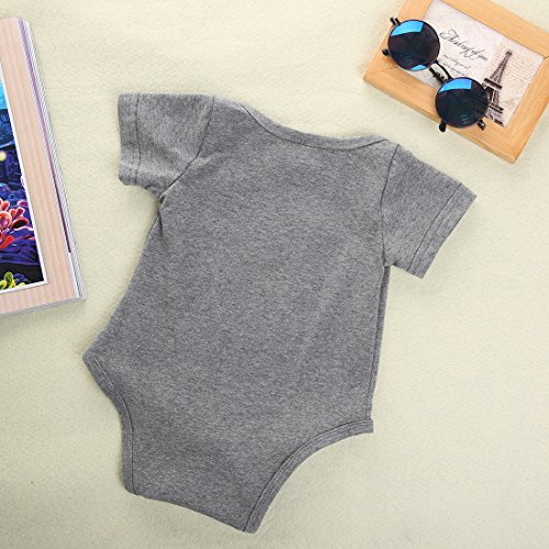 Newborn Baby Boys Girls Bowtie Short Sleeve Romper Bodysuit Playsuit Outfits (0-3 Months, Gray)