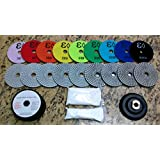 "4"" Wet/Dry Diamond Polishing Pad Complete Set (10pcs+1+a Pint of Densifier/Sealer) for Granite, Concrete, Stone Polishing"