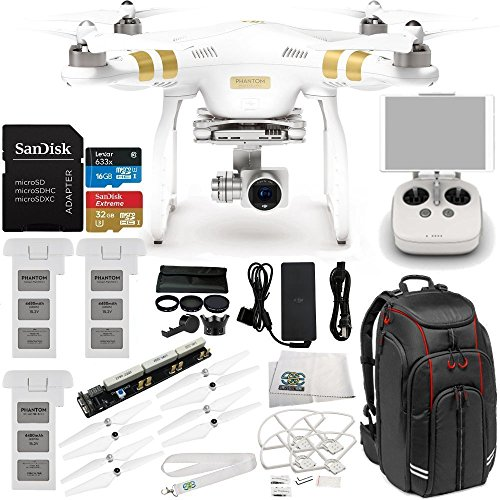 DJI Phantom 3 Professional Quadcopter w/ 4K Camera, 3-Axis Gimbal & Manufacturer Accessories + 2 DJI Batteries + Manfrotto MB BP-D1 Video Equipment Backpack + 7PC Filter Kit (UV-CPL-ND2-400) + MORE