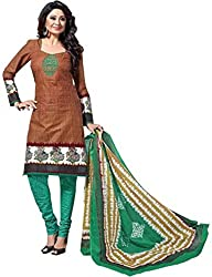 Balaji Womens Cotton Unstitched Dress Material(5111+Brown+Free Size)