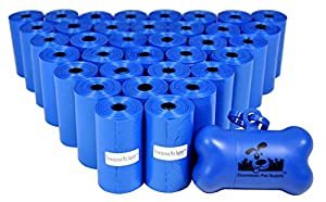 700 Pet Waste Bags, Dog Waste Bags, Bulk Poop Bags on a roll, Clean up poop bag refills - (Color: Blue) + FREE Bone Dispenser, by Downtown Pet Supply